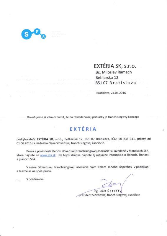 Členstvo v SK asociácii franchisingu - SFA